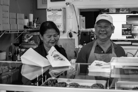 Manley's is a family business and this gentleman has been making donuts for a long time. His favorite choice is the chocolate cake donut with chocolate icing. I say good choice.